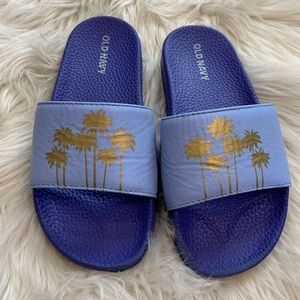 OLD NAVY Girls Slides Purple with Palm Trees 12/13